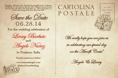 Italian wedding, Save the Dates, Lady and the Tramp, Weddings in Italy! Made by http://www.serendipitybeyonddesign.com/