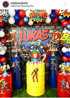 Avengers Theme Birthday Party Dessert Table and Decor