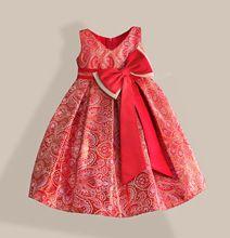 Rojo Grande Del Arco Del Vestido de Las Muchachas de año Nuevo Oro Bronceado Algodón Keen-longitud Con Cuello En V Vestidos de Fiesta Kids Tamaño 3-8 T(China (Mainland))