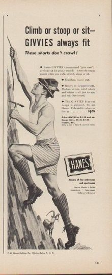 "Description: 1949 HANES vintage print advertisement ""Climb or stoop or sit -- GIVVIES always fit""""These shorts don't crawl! Makers of fine underwear and sportswear. P.H. Hanes Knitting Co., Winston-Salem 1, N. C."" Size: The dimensions of the half-page advertisement are approximately 5.5 inches x 14 inches (14cm x 36cm). Condition: This original vintage advertisement is in Very Good Condition unless otherwise noted ()."
