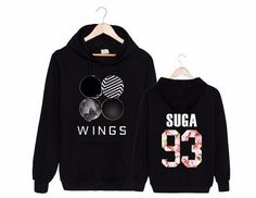 BTS Bangtan Boys Suga 93 Wings Album Official Logo Black Fashion Hoodie #BTS #BangtanBoys #Suga #Wings #Album #Official #Logo #Black #Fashion #Hoodie #KPOP #KIDOLSTUFF