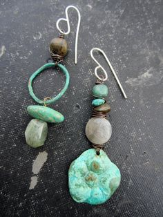 Boho Asymetrical Verdigris Flowers and Hoops von stacilouise,
