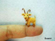 Miniature Crochet Animals, Tiny Dolls, Amigurumi Toys by SuAmi Tiny Goat, How To Start Knitting, Tiny Dolls, Amigurumi Toys, Amigurumi Patterns, Softies, Plushies, Microcar, Crochet Animals