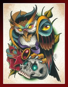 David Tevenal Owl Reaping Getting tattooed right now and this is hanging on the wall Tattoo Sketches, Tattoo Drawings, Body Art Tattoos, Sleeve Tattoos, Tattoo Art, Dessin Old School, Buho Tattoo, Owl Tat, Flash Art