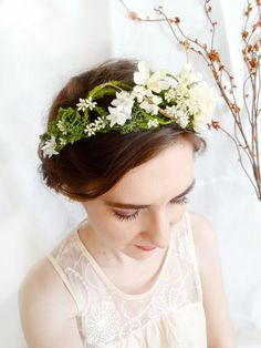 6d5a310b3ad mossy floral head wreath - FOREST LORE - a wedding