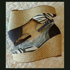 "NWT Espadrille Wedge Expert craftsmanship, these are made to last with a lined canvas upper and perfectly braided jute rope wedge.  Slightly padded insole with a textured rubber sole.  1 1/2"" platform on a 4"" heel with an ankle strap. NIB Arizona Jean Company Shoes Wedges"