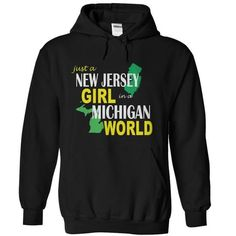 New Jersey Girl in Michigan - #country shirt #t'shirt quilts. CLICK HERE => https://www.sunfrog.com/States/New-Jersey-Girl-in-Michigan-Black-Hoodie.html?68278