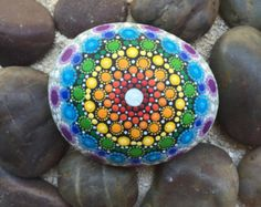 Items similar to Large Rainbow Colored Dot Painted Stone, Original Hand Painted Rock Art, Mandala Stone, Nature Art on Etsy Mandala Painting, Stone Painting, Rock Painting, Zentangle, Hand Painted Rocks, Painted Stones, Aboriginal Dot Painting, Mandala Rocks, Nature Paintings