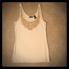 New NEWYORK and CO sequined tank Beautiful Brand new never been worn taupe sequined tank.  This tank is stretchy and has a great length to it.  It will be a perfect tank underneath a sweater or just as is for the holidays!✨ New York & Company Tops Camisoles