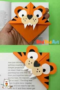 Red Ted Art's Tiger Corner Bookmark Designs is super easy to make and so very cute. Perfect for any Wild Animal Study units (now with printable worksheets!) or for Year of the Tiger Lovers! We adore Animal Corner Bookmarks! Origami Bookmark Corner, Bookmark Craft, Corner Bookmarks, Bookmarks Kids, How To Make Bookmarks, Handmade Bookmarks, Paper Crafts For Kids, Easy Crafts For Kids, Art For Kids