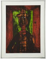 Lot# 1208 Rufino Tamayo (1899-1991 Mexican) ''Hombre en Fondo Verde (Man on Green Background)'', color lithograph on paper under glass, paper size: 30.25'' H x 22.25'' W, est: $1000/2000 *Price Realized: $2,082.50