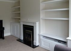 Fitted Alcove Media Cabinets and bookshelving in London such as East Finchley, Hampstead Garden Suburb, and Essex. Have you considered a low cost beautiful set of designer made to measure shelves to fill that alcove and wall? Alcove Storage, Alcove Shelving, Built In Storage, Shelving Units, Tv Units, Victorian Living Room, Edwardian House, Victorian Homes, Victorian Decor