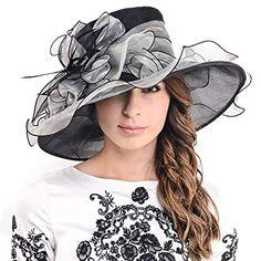4b52d93cd85 Ladies Kentucky Derby Church Hat Wide Brim Leaf Flower Bridal Dress Hat  s037 (Navy Green)
