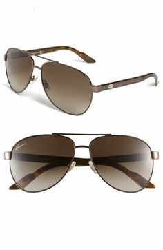 Gucci 'Ribbon' 58mm Aviator Sunglasses available at #Nordstrom