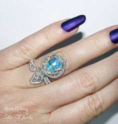 Moon Elf ring Elf jewelry wire wrapped ring by SilverElfJewelry