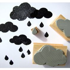 rubber stamps CLOUDS by nuukk on Etsy Clay Stamps, Stamp Printing, Printing On Fabric, Eraser Stamp, Stamp Carving, Handmade Stamps, Arts And Crafts, Diy Crafts, Artisanal