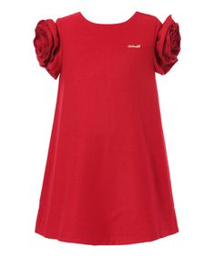 Loving this Red Floral Puff-Sleeve Dress - Toddler & Girls on #zulily! #zulilyfinds