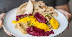 Let's put some fun into a basic hummus recipe! We brighten things up with 3 different roasted vegetables- red onion, carrots and beetroot- so you can turn one batch of delicious dip into three. They look so colourful next to each other. This recipe also gives you the option to make some homemade rosemary flatbreads. Ideal for anyone needing a snack or fuel during a busy day at the office.