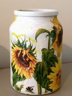 Sunflowers  decoupage decorative handy jar desk tidy