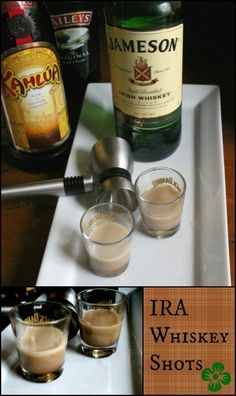 IRA whiskey shot recipe is layers of Irish whiskey, Kahlua, and Baileys. Jameson Whiskey Drinks, Jameson Shots, Baileys Drinks, Irish Drinks, Jameson Irish Whiskey, Whiskey Shots, Liquor Drinks, Bourbon Drinks, Drinks Alcohol