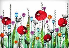 Original+Drawing++Poppy+Meadow++8.5x12+up+to+por+EnchantedCrayons,+$15.00