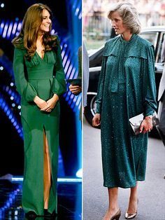 GREEN GODDESSES One of Kate's first – and most glamorous – maternity looks was this V-neck, high-slit Alexander McQueen gown she wore to the BBC Sports Personality of the Year Awards in London on Dec. 16. Diana chose a similarly glam dress – with glitter and more room to grow – while pregnant with Prince Harry in 1984.