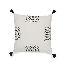 Pinasse Quarter Embroidered Cushion Cover w/Tassels | Citta Design $74.90