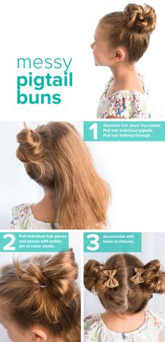 Follow this messy pigtail buns tutorial for children. It's an easy hairstyle idea that little girls will love. You can try adding in some bows, too.