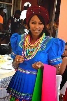 Beautiful Pedi wife in traditional Pedi gear. Pedi Traditional Attire, Sotho Traditional Dresses, South African Traditional Dresses, Traditional Wedding Dresses, Traditional Outfits, Traditional Fashion, Traditional Decor, South African Wedding Dress, African Wedding Attire