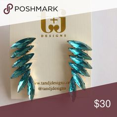 Feathered crystals earring Stunning! T&J Designs Jewelry Earrings
