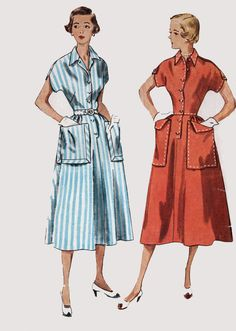 1950s Shirtwaist Dress with Kimono Sleeves Simplicity 3289 Vintage 50s Sewing Pattern Size 13 Bust 31 by sandritocat on Etsy