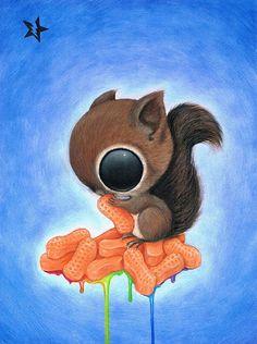 Tummy by Sugar Fueled Cute Squirrel w/ Peanuts Tattoo Canvas Art Print