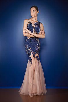 Cajo - vestido longo com renda azul
