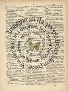 John Lennon Imagine lyrics on old dictionary paper. @Kay Kennedy ?