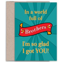 Brothers Birthday   In a World Full of Brothers   Brother Card   Gift for…