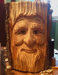 Woodspirit hand-carved by Elizabeth Brown, Liverpool, NS.