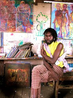 Art studio in Kibera slum, Africa Artist Art, Artist At Work, Artist Workspace, Viviane Sassen, Dream Studio, Outsider Art, Famous Artists, African Art, Art Studios
