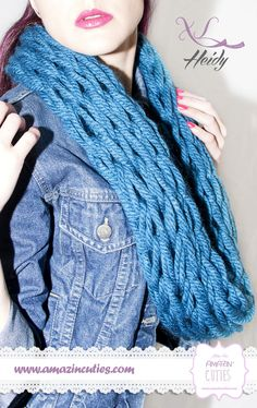 HEIDY Bufanda tipo cuello de lana gruesa 100% acrílica color azul a 2 hilos