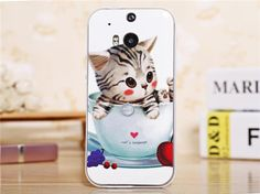 cartoon animal back case with detachable bumper for HTC One - cute kitten Htc One M8, Kittens Cutest, Phone Cases, Cartoon, Frame, Animals, Plastic, Cover, Picture Frame