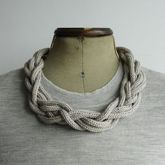 knitted necklace: love