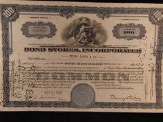 Bond Stores Inc Stock Certificate by SweetResale on Etsy, $12.00