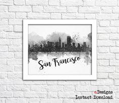 Printable San Francisco Watercolor Decor San by eDesignss on Etsy