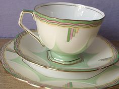 RARE Antique Aynsley art deco tea cup trio, pastel green and pink tea cup and saucer plate set, English tea set, bone china tea cup,