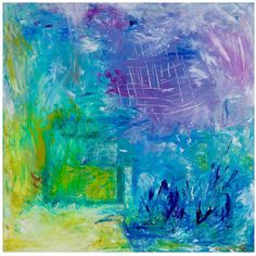 """Big Abstract  Acrylic Painting on Canvas  SQUARE Colorful Abstract  Blue  Green House Warming Gift Wall Decor Gift """"SPACE"""""""