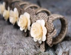 Rustic Napkin Rings Burlap and Wood Roses - Set of 4 - . Rustic Napkin Rings Burlap and Wood Roses – Set of 4 – … – decor Burlap Projects, Burlap Crafts, Craft Projects, Rustic Napkin Rings, Rustic Napkins, Paper Flowers Wedding, Burlap Flowers, Craft Flowers, Table Presentation
