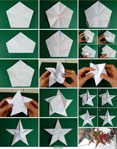 Instruções Origami, Paper Crafts Origami, Christmas Origami, Christmas Paper, Cool Paper Crafts, Holiday Crafts, Paper Flowers Diy, Diy Gifts, Homemade Cards