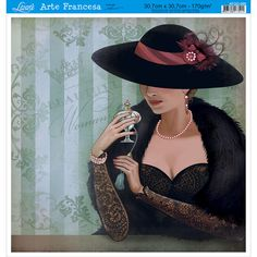 Papel para Arte Francesa Litoarte 30,7 x 30,7 cm - Modelo AFQG-096 Dama Preto - CasaDaArte Vintage Pictures, Vintage Images, Vintage Art, Vintage Ladies, Art Deco Fashion, Vintage Fashion, Art Deco Cards, Estilo Art Deco, Art Deco Stil