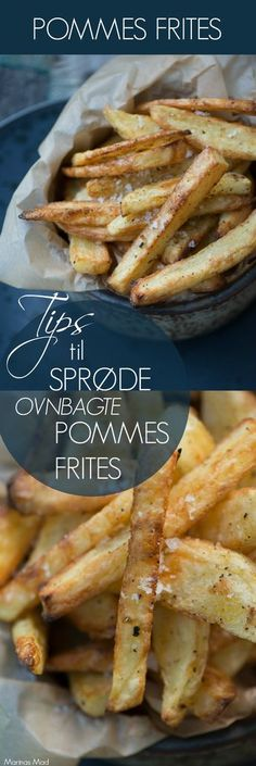 Opskrift på super lækre hjemmelavede pommes frites. Bagt i ovn og serveret varme og sprøde. Masser af tips og tricks fra Marinas Mad