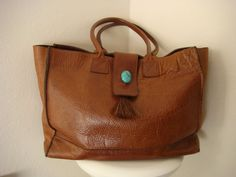 Vintage Two Bar West Texas Tote Shoulder Bag Thick Soft Tan Leather Turquoise Stone Closure