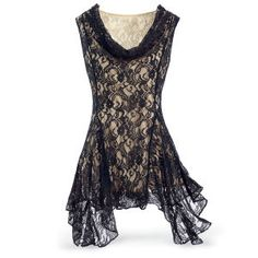 Black Lace Godet Tunic - New Age, Spiritual Gifts, Yoga, Wicca, Gothic, Reiki, Celtic, Crystal, Tarot at Pyramid Collection